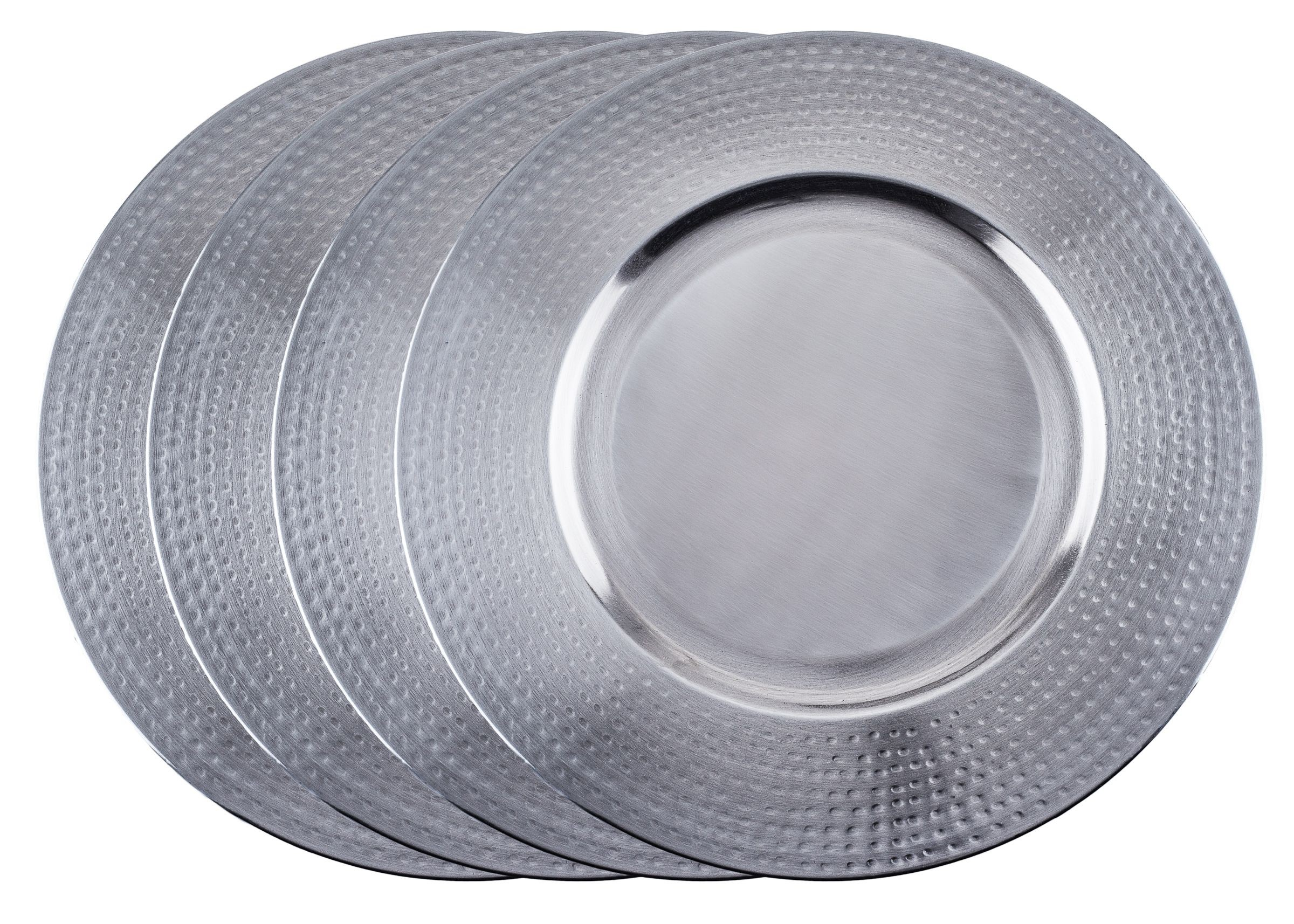 """Old Dutch International OS4966 Brushed Stainless Steel 16"""" Charger Plate with Hammered Rim, Set of 4"""
