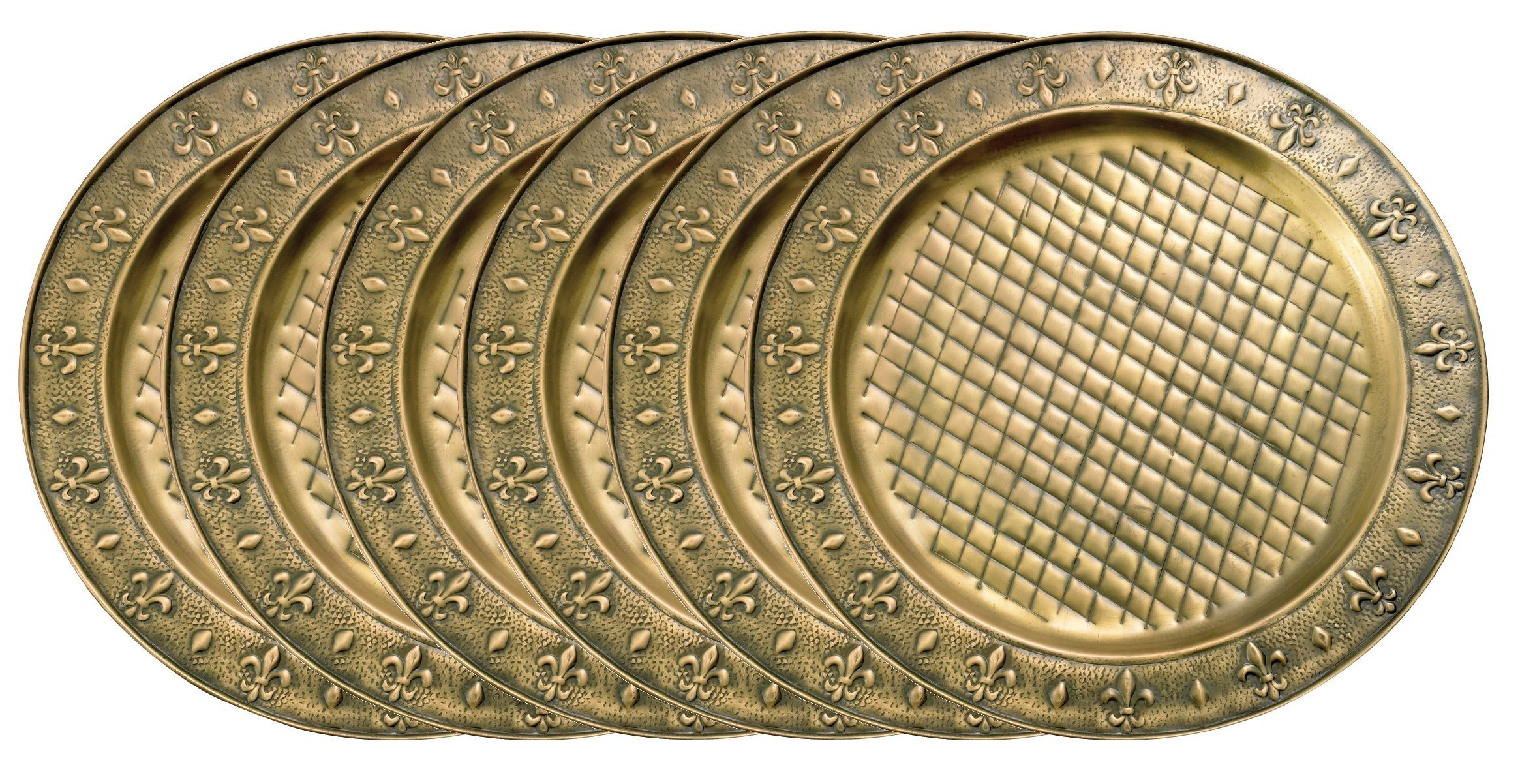 "Old Dutch International OS728 Antique Brass Versailles 13"" Charger Plate, Set of 6"