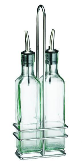 TableCraft H9085N Prima Olive Oil 2-Bottle Set 8,5 oz. with Chrome Rack