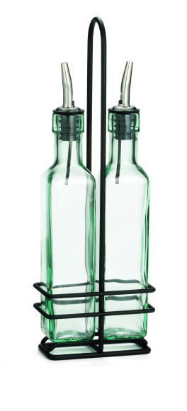 TableCraft H9085NBK Prima Olive Oil 2-Bottle Set 8,5 oz. with Black Rack