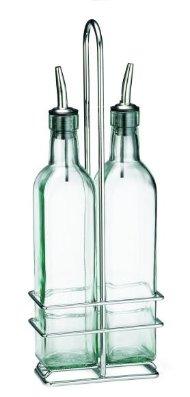 Olive Oil Bottle Set With Two 16 Oz. Square Bottles/Chrome Rack