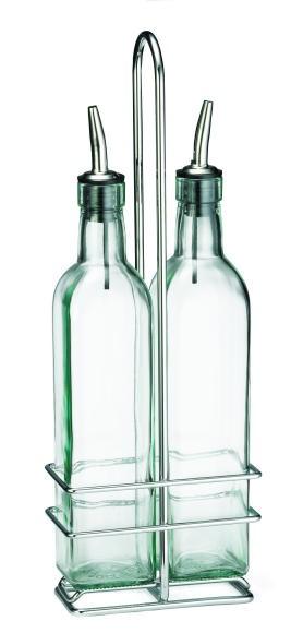 TableCraft H916N Olive Oil 2-Bottle Set 16 oz. with Chrome Rack
