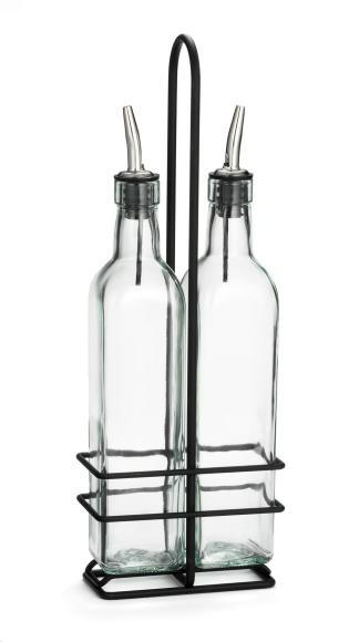 TableCraft H916NBK Olive Oil 2-Bottle Set 16 oz. with Black Rack