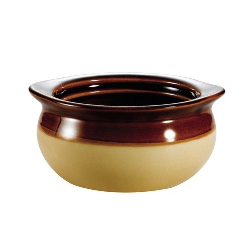 CAC China OC-12-C Stoneware Round Onion Soup Crock, Cream/Brown 12 oz.