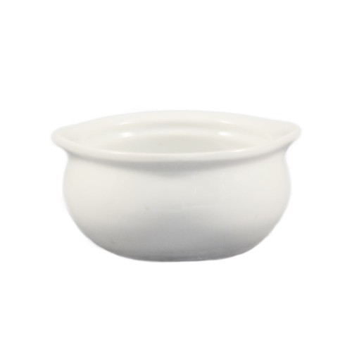 CAC China OC-12-P Stoneware Round Onion Soup Crock, White 12 oz.