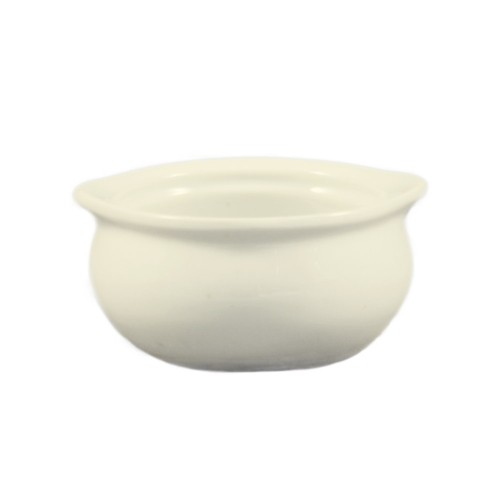 CAC China OC-12-W Stoneware Round Onion Soup Crock, American White 12 oz.