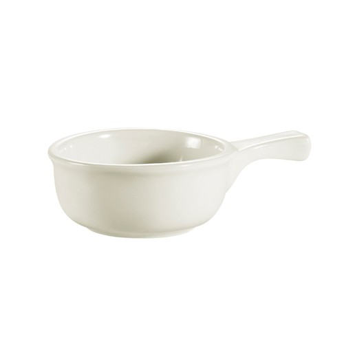 CAC China OC-15-W Stoneware Round Onion Soup Crock with Handle, White 15 oz.