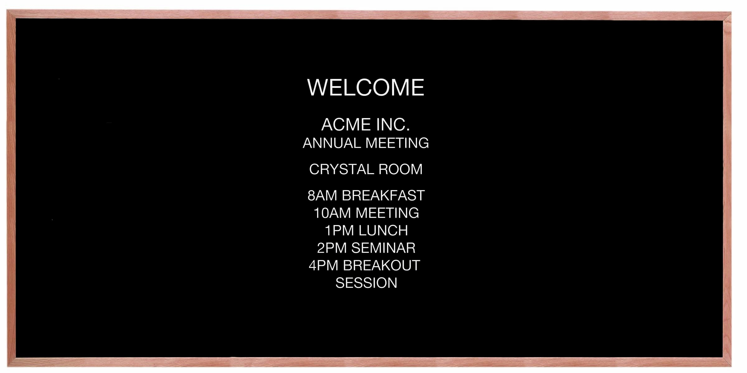 "Aarco Products AOFD4896 Framed Letter Board Message Center with Oak Frame, 48""H x 96""W"