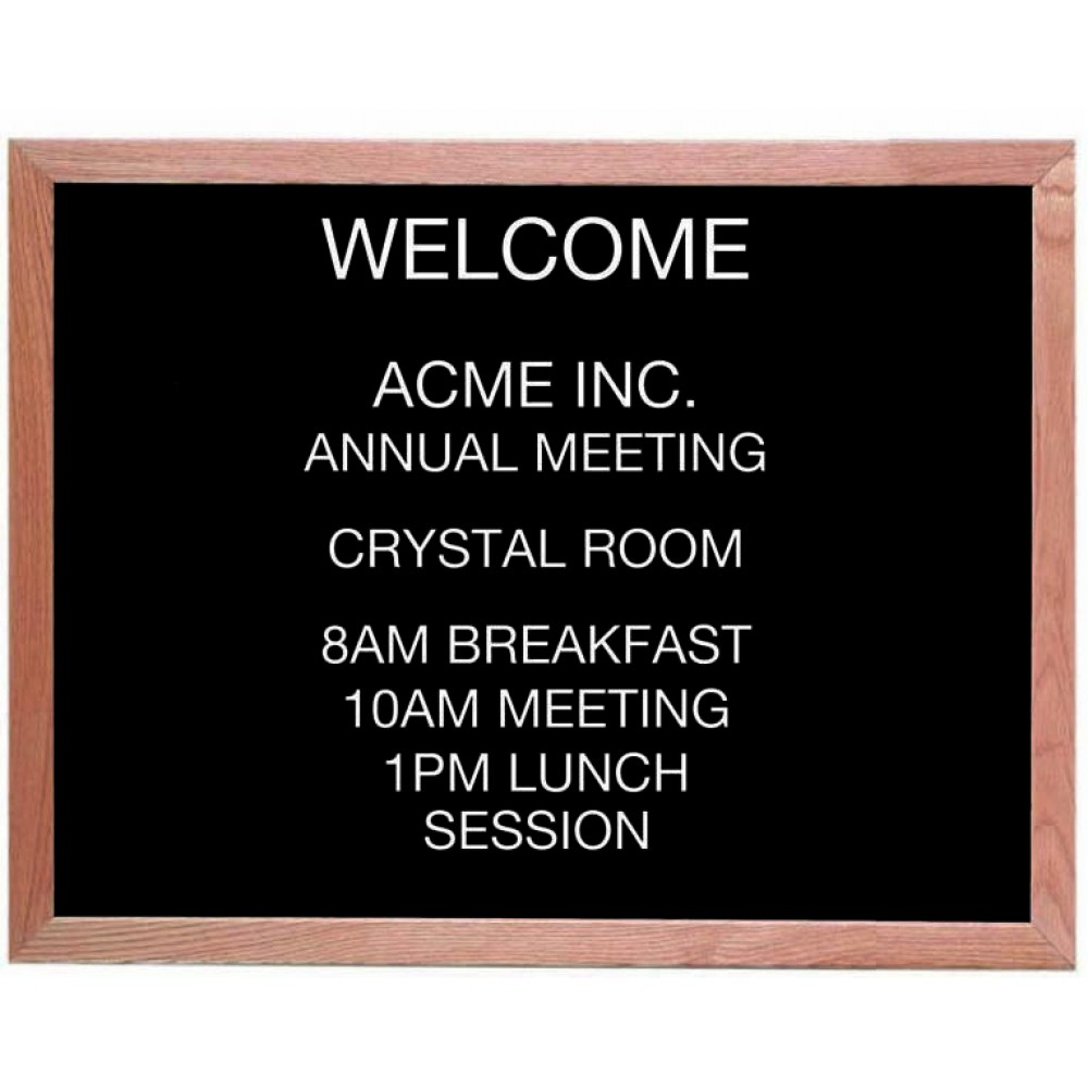 "Aarco Products AOFD2430 Framed Letter Board Message Center with Oak Frame, 24""H x 30""W"