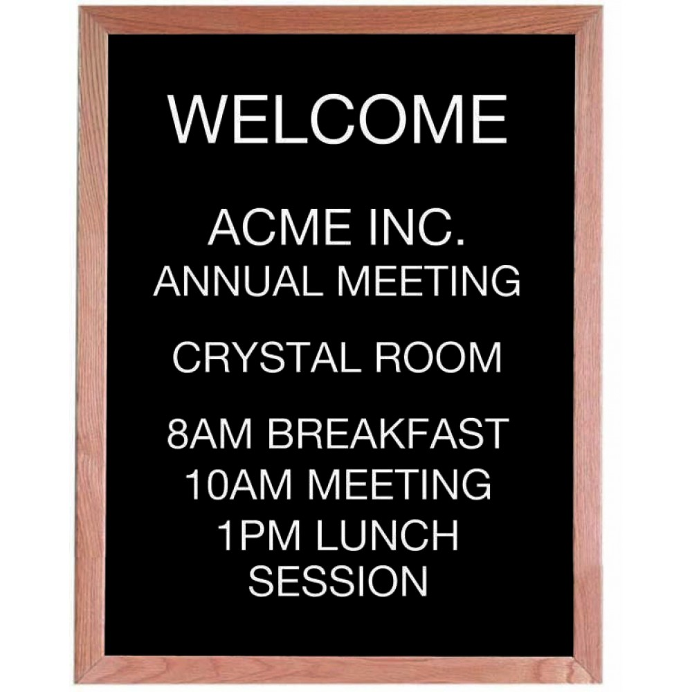 "Aarco Products AOFD3024 Framed Letter Board Message Center with Oak Frame, 30""H x 24""W"