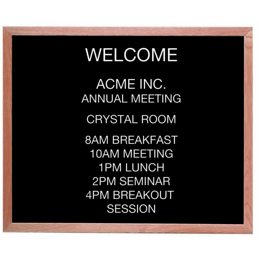 "Aarco Products AOFD3036 Framed Letter Board Message Center with Oak Frame, 30""H x 36""W"
