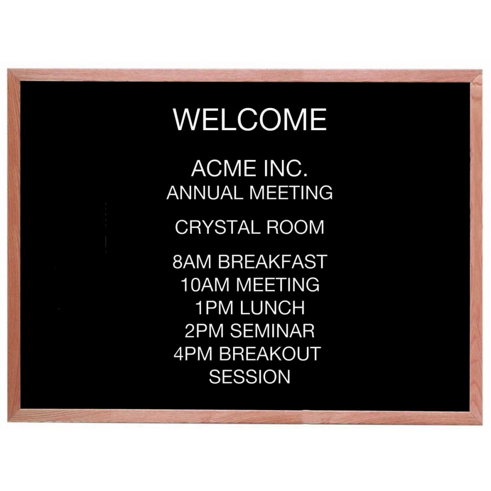 "Aarco Products AOFD3648 Framed Letter Board Message Center with Oak Frame, 36""H x 48""W"