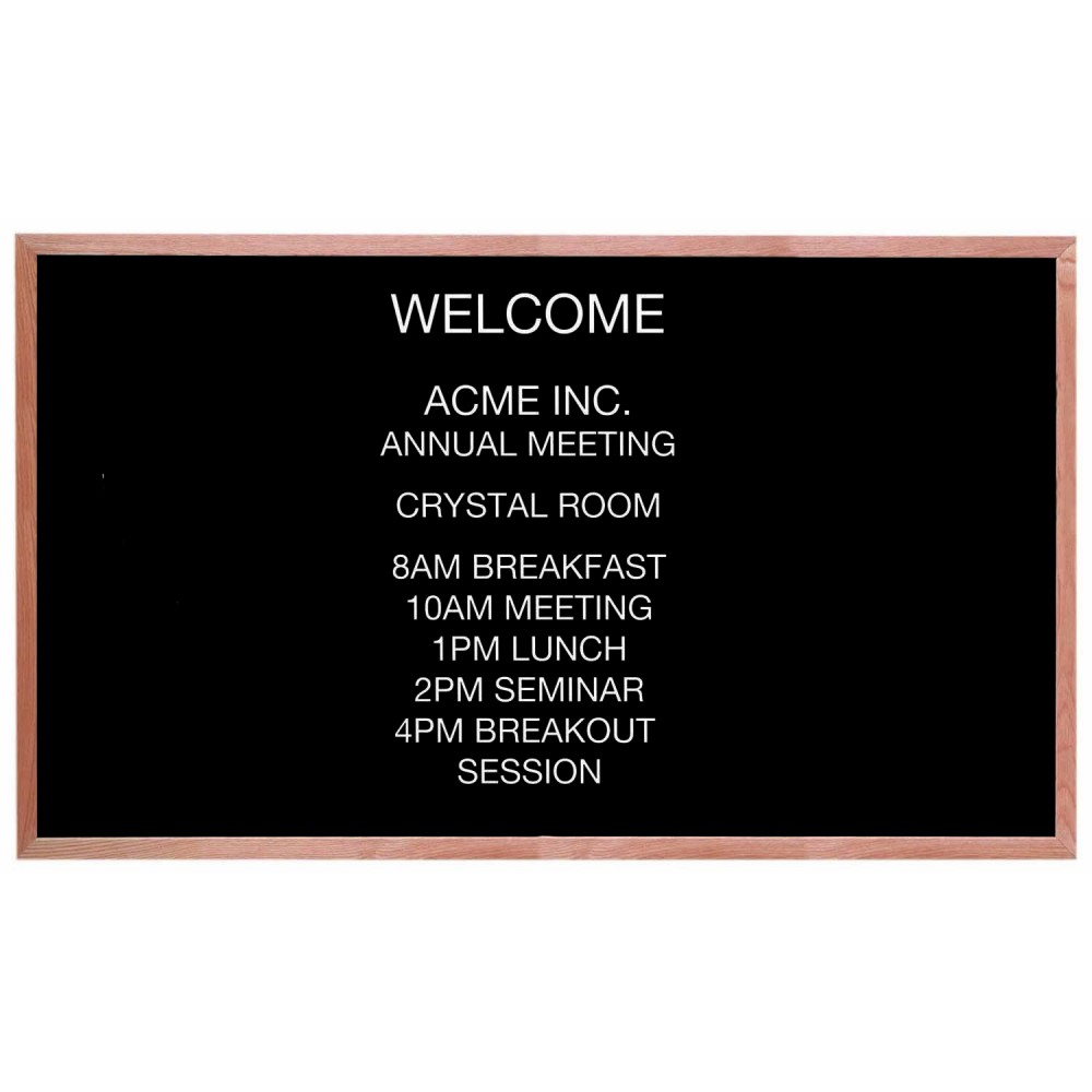 "Aarco Products AOFD3660 Framed Letter Board Message Center with Oak Frame, 36""H x 60""W"