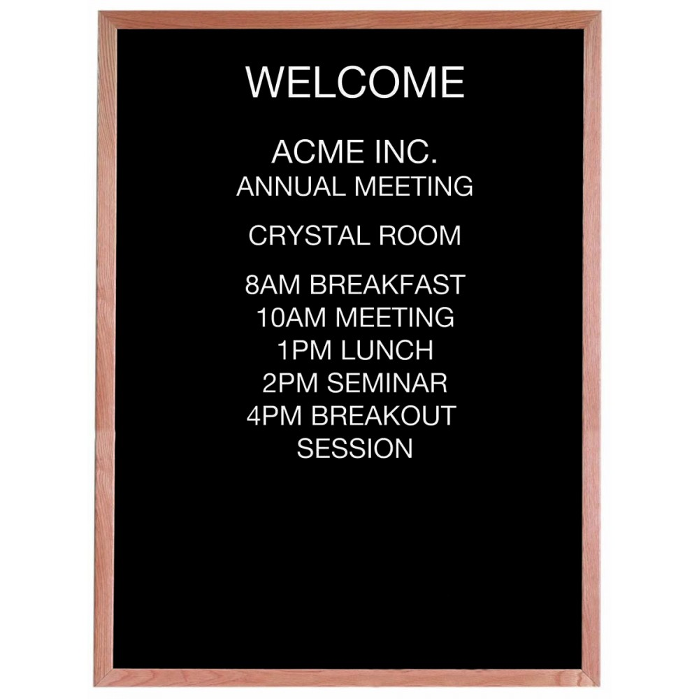 "Aarco Products AOFD4836 Framed Letter Board Message Center with Oak Frame, 48""H x 36""W"