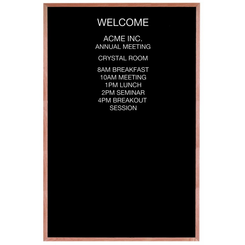 "Aarco Products AOFD7248 Framed Letter Board Message Center with Oak Frame, 72""H x 48""W"