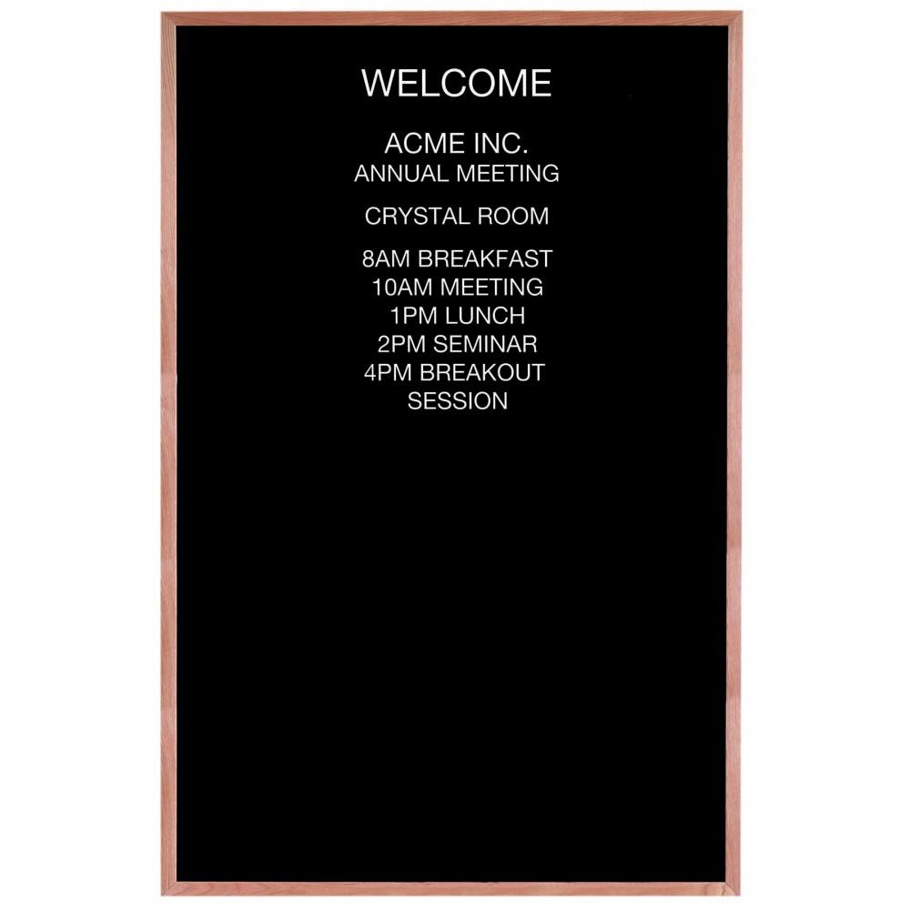 """Open Face Wood & Felt Changeable Letter Board - 72"""" H x 48"""" W ..."""