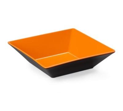 "G.E.T. Enterprises ML-249-OR/BK Brasilia Orange/Black Melamine 12.8 Qt. Square Bowl 16"""