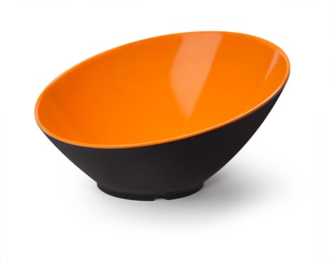 G.E.T. Enterprises B-788-OR/BK Brasilia Orange/Black 16 oz. Melamine Cascading Bowl
