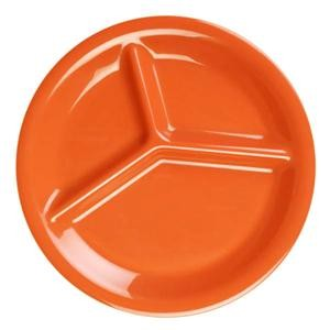 "Thunder Group CR710RD Orange Melamine 3-Compartment Plate 10-1/4"" ."