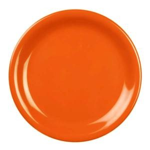 Thunder Group CR107RD Orange Melamine Narrow Rim Round Plate 7-1/4""