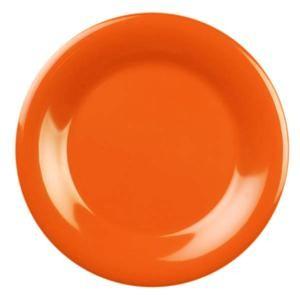 "Thunder Group CR005RD Orange Melamine Wide Rim Round Plate 5-1/2"""