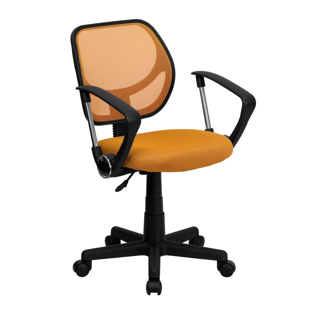 Orange Mesh Computer Chair with Arms