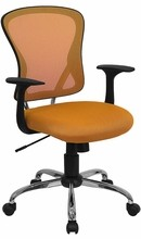 Flash Furniture H-8369F-ORG-GG Mid-Back Orange Mesh Executive Office Chair with Chrome Base and Arms