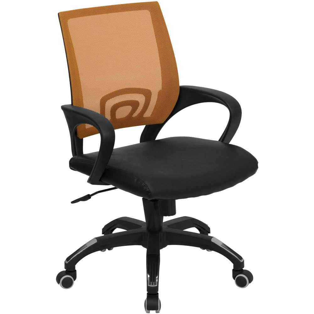 Orange Mesh Office Chair with Black Leather Seat