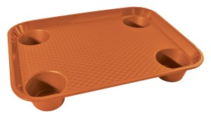 "G.E.T. Enterprises FT-20-OR Orange Polypropylene 17"" x 14"" Fast Food Tray with 4-Holders"