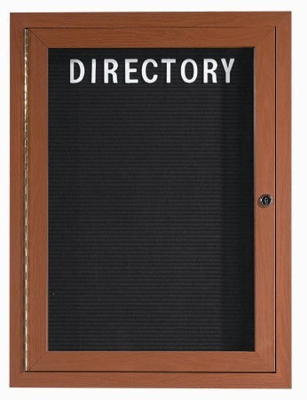 "Aarco Products OADCO3624L 1-Door Enclosed Outdoor Aluminum Directory Board with Oak Wood Look Finish, 36""H x 24""W"