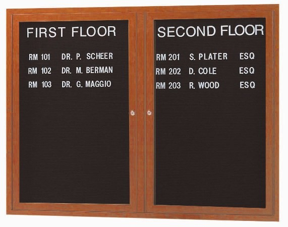 "Aarco Products OADCO3648L 2-Door Enclosed Outdoor Aluminum Directory Board with Oak Wood Look Finish, 36""H x 48""W"