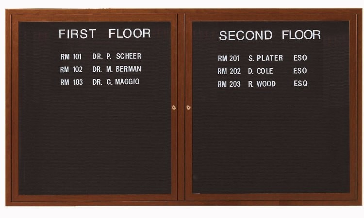 "Aarco Products OADCO3660L 2-Door Enclosed Outdoor Aluminum Directory Board with Oak Wood Look Finish, 36""H x6 0""W"