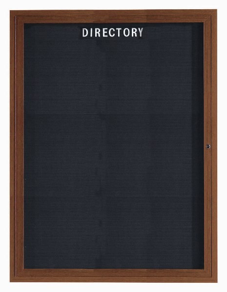 "Aarco Products OADCO4836L 1-Door Enclosed Outdoor Aluminum Directory Board with Oak Wood Look Finish, 48""H x 36""W"
