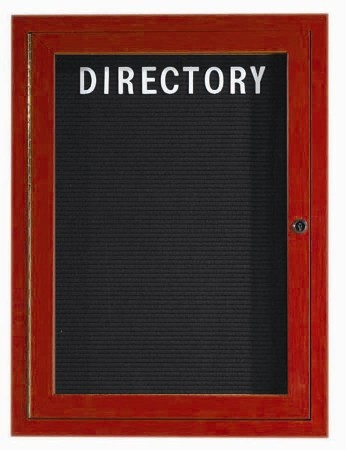 Outdoor Aluminum Frame Wood Look (Cherry) Enclosed Letter Board- 36