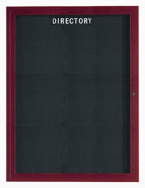 "Aarco Products OADCW4836L 1-Door Outdoor Enclosed Directory with Aluminum Wood Look Finish. Cherry Wood Frame, 48""H x 36""W"