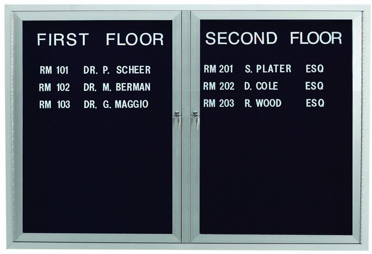 """Aarco Products OADC3648 2 Door Outdoor Enclosed Directory Board with Aluminum Frame, 36""""H x 48""""W"""