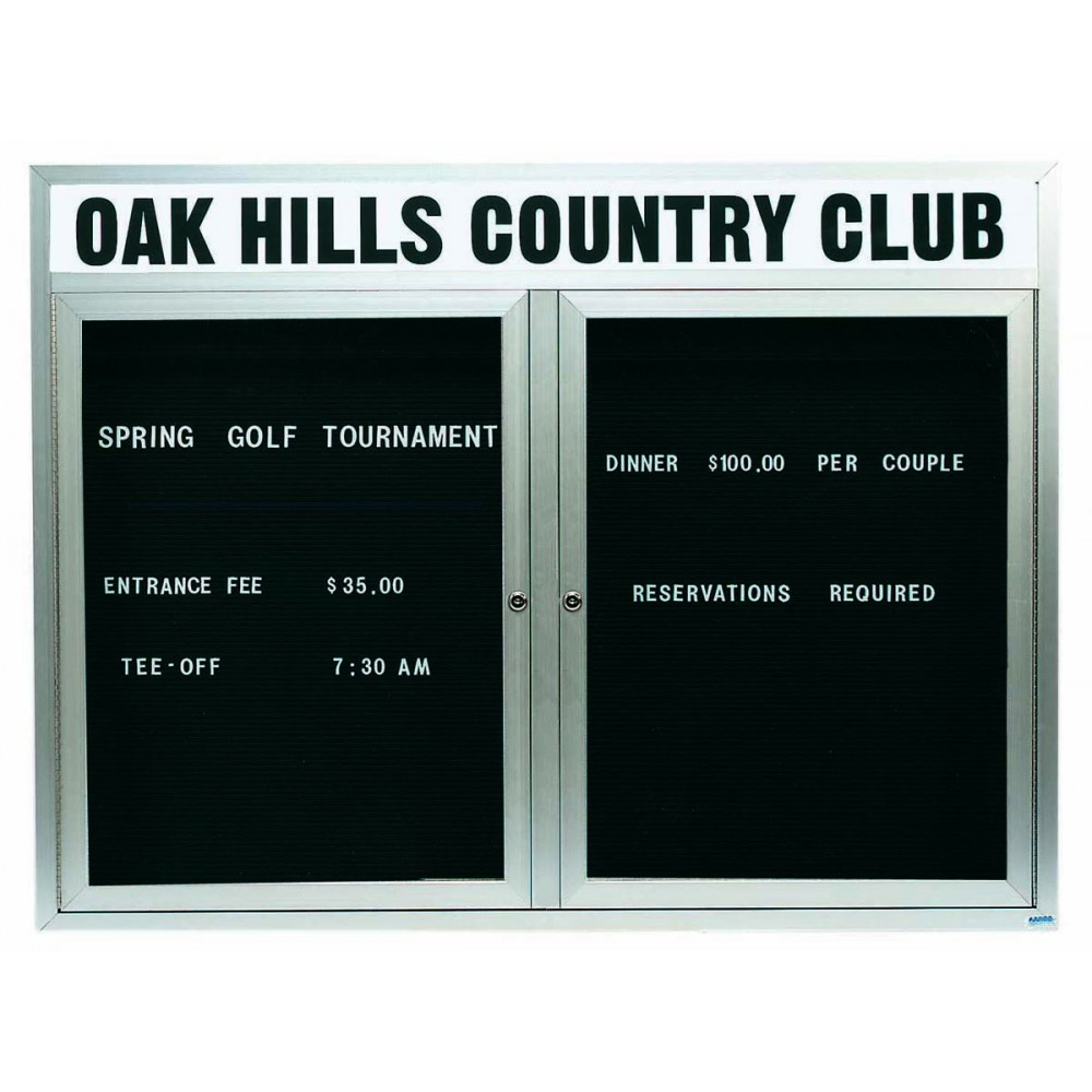 "Aarco Products OADC4860H 2 Door Outdoor Enclosed Directory Board with Aluminum Frame and Header, 48""H x 60""W"