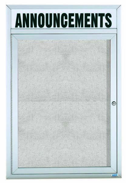 Outdoor Enclosed Aluminum Illuminated Indoor 1-Door Bulletin Board Cabinet W/header - 24