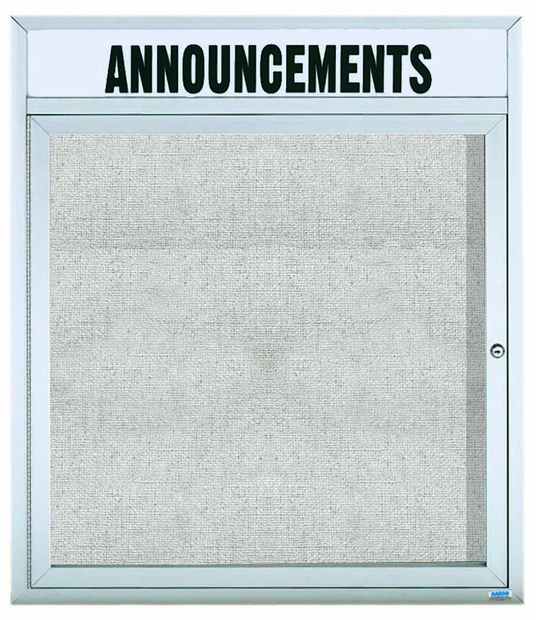 """Aarco Products ODCC3630RHi Outdoor Enclosed Aluminum Illuminated 1-Door Bulletin Board Cabinet with Header, 36""""H x 30""""W"""
