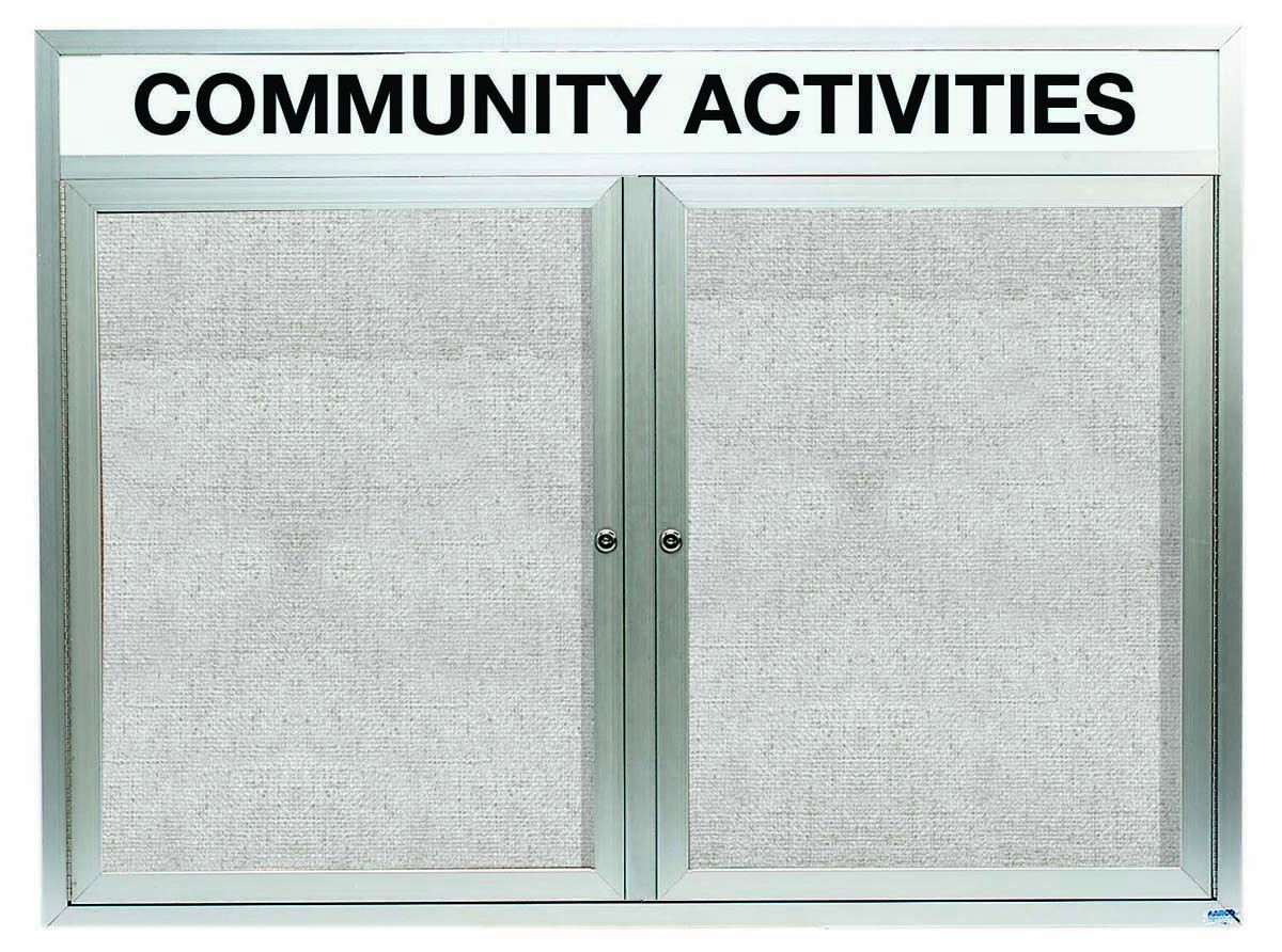 """Aarco Products ODCC3648RHI Outdoor Enclosed Aluminum Illuminated 2-Door Bulletin Board Cabinet with Header, 36""""H x 48""""W"""