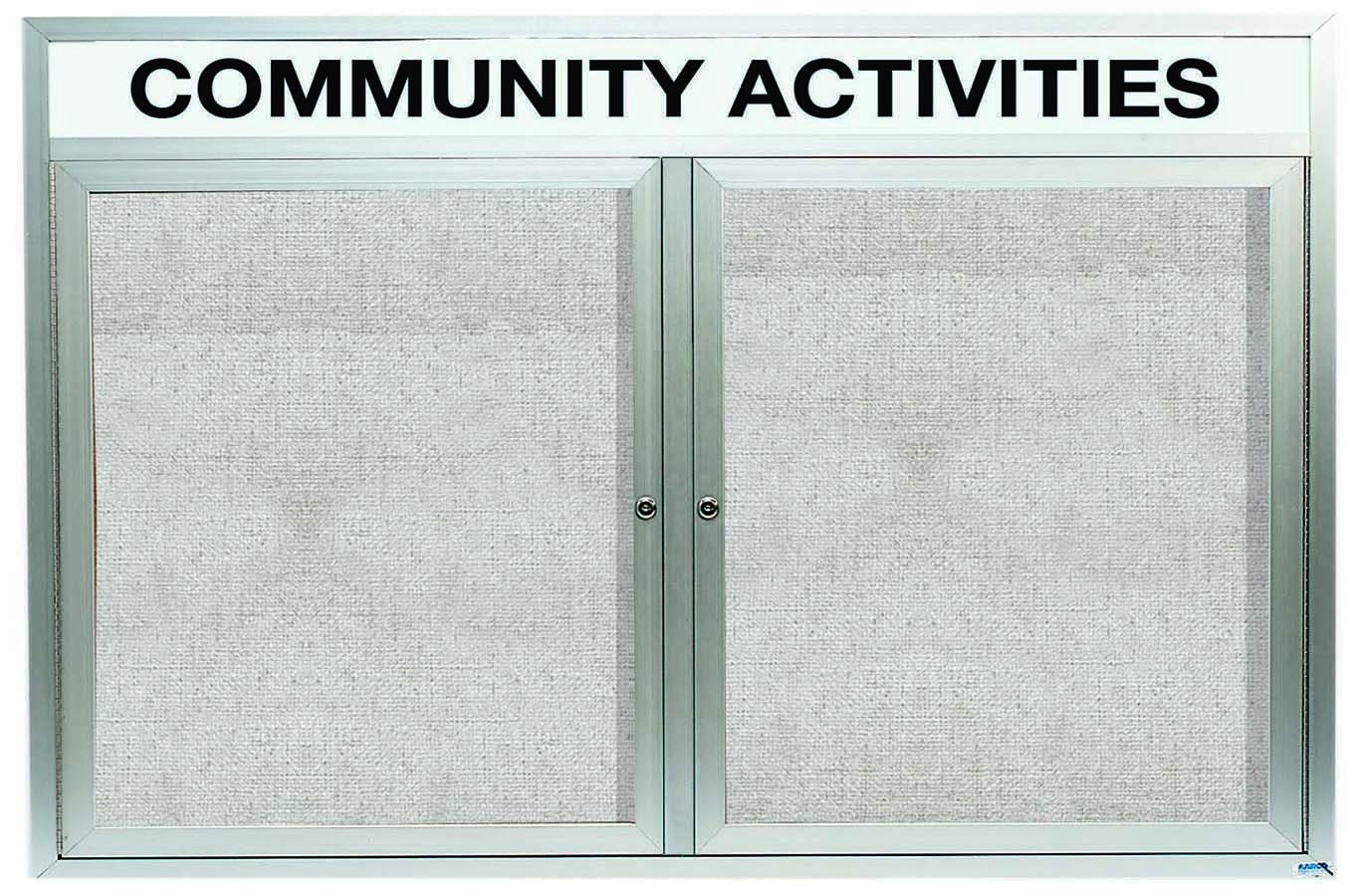 Outdoor Enclosed Aluminum Illuminated Indoor 2-Door Bulletin Board Cabinet W/header - 36