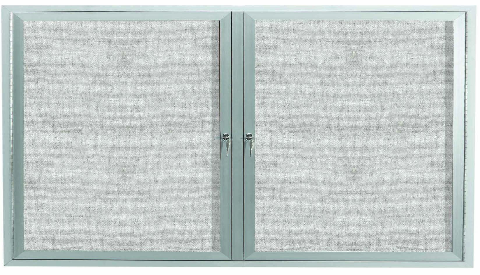 "Aarco Products ODCC3660RI Outdoor Enclosed Aluminum Illuminated 2-Door Bulletin Board Cabinet, 36""H x 60""W"