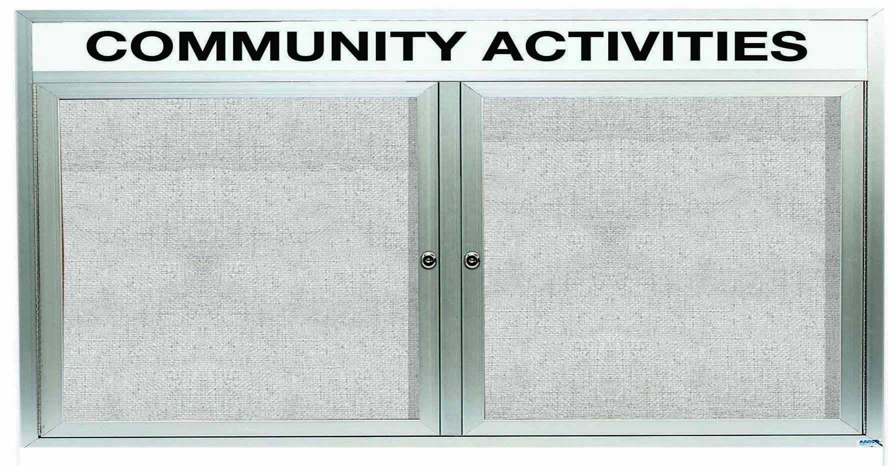 """Aarco Products ODCC3672RHI Outdoor Enclosed Aluminum Illuminated 2-Door Bulletin Board Cabinet with Header, 36""""H x 72""""W"""