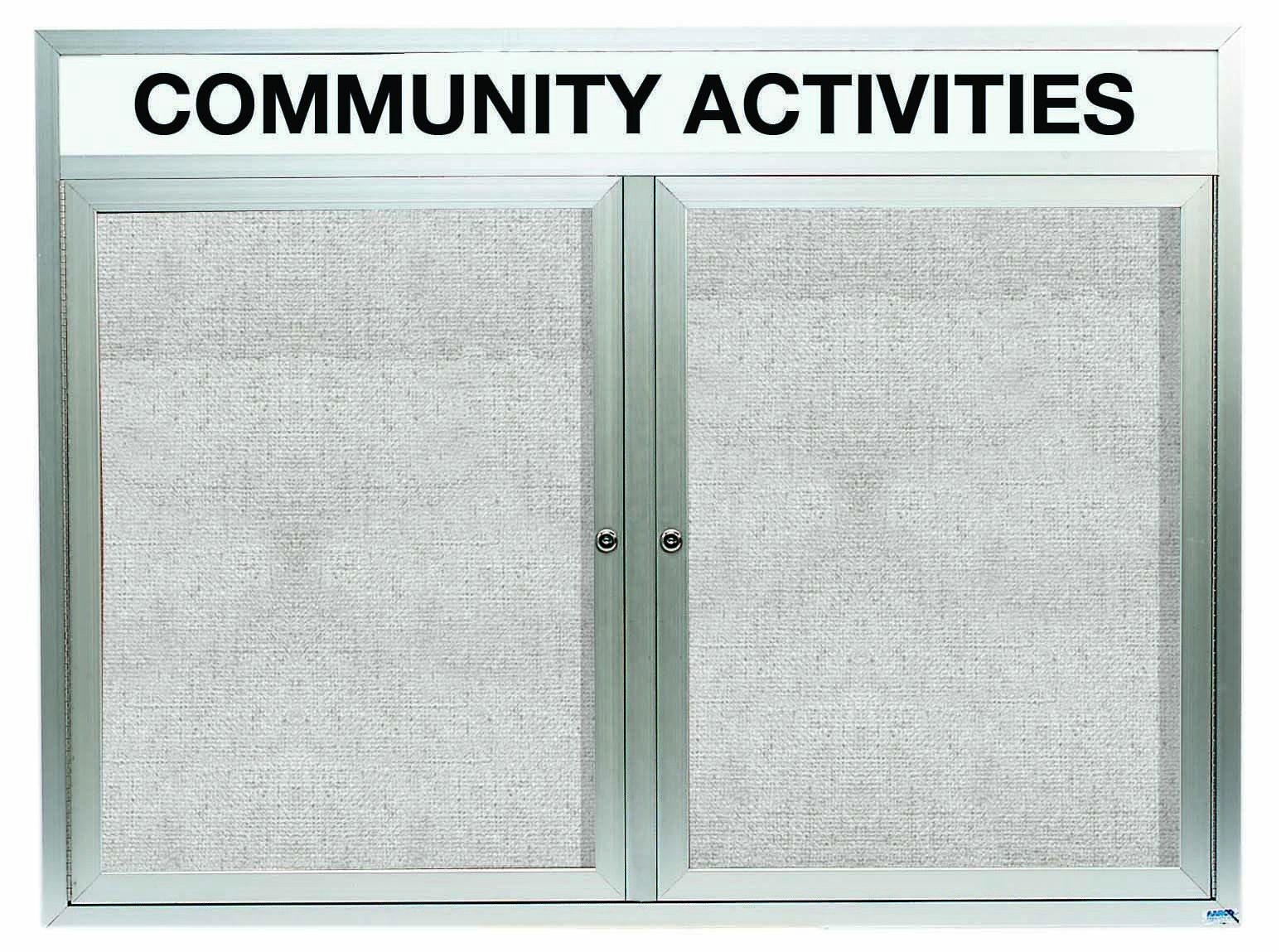 """Aarco Products ODCC4860RHi Outdoor Enclosed Aluminum Illuminated 2-Door Bulletin Board Cabinet with Header, 48""""H x 60""""W"""