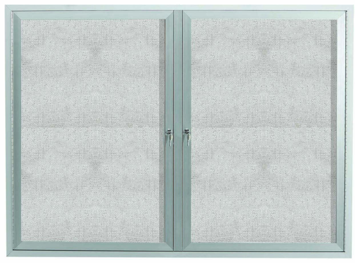 """Aarco Products ODCC4860RI Outdoor Enclosed Aluminum Illuminated 2-Door Bulletin Board Cabinet, 48""""H x 60""""W"""