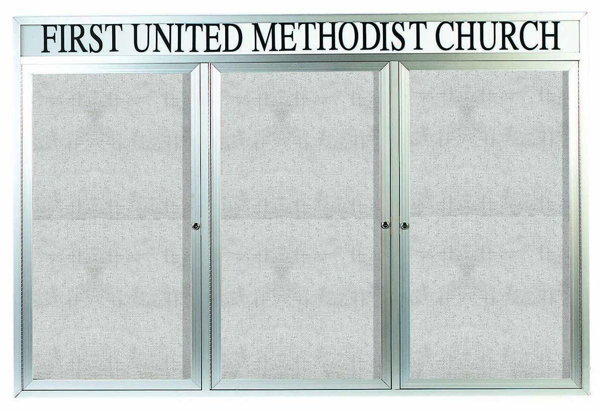 "Aarco Products ODCC4872-3RHI Outdoor Enclosed Aluminum Illuminated 3-Door Bulletin Board Cabinet with Header, 48""H x 72""W"