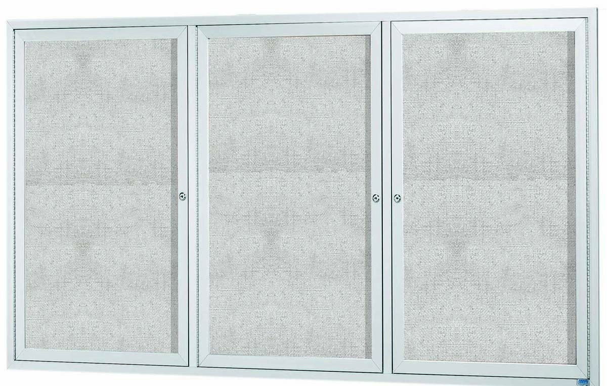 "Aarco Products ODCC4872-3RI Outdoor Enclosed Aluminum Illuminated 3-Door Bulletin Board Cabinet, 48""H x 72""W"
