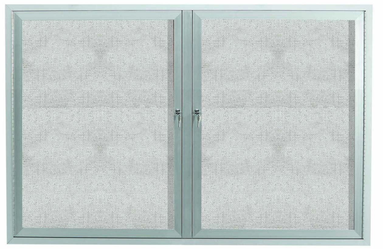 "Aarco Products ODCC4872RI Outdoor Enclosed Aluminum Illuminated 2-Door Bulletin Board Cabinet, 48""H x 72""W"