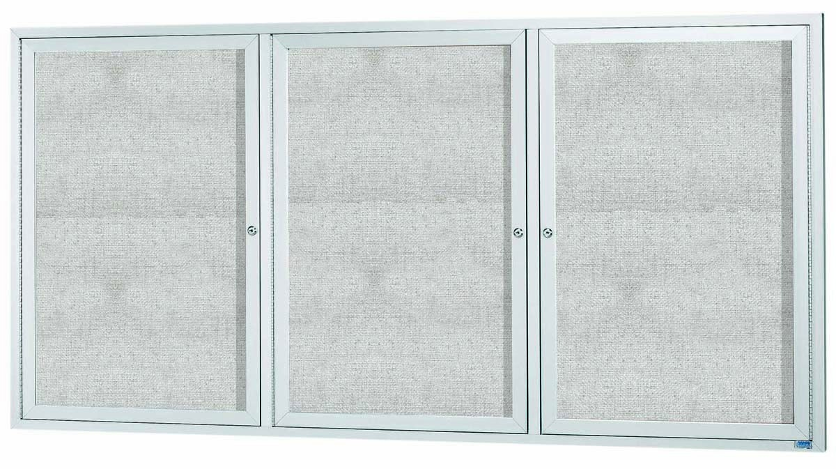 """Aarco Products ODCC4896-3RI Outdoor Enclosed Aluminum Illuminated 3-Door Bulletin Board Cabinet, 48""""H x 96""""W"""