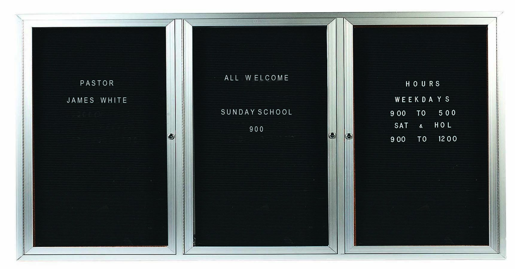 "Aarco Products OADC3672-3I 3 Door Outdoor Illuminated Enclosed Directory Board with Aluminum Frame 36""H x 72""W"